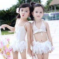 ballet bikini - Korean Cute Girl Swim Sets Swan Ballet Lovely Swim Suit Lace Tutu Skirt Bowknot Girls Swimwear Sets with Swim Caps Pink A5880
