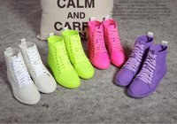 Wholesale 2017 new fashion candy color breathable stretch female tide shoes flat down leisure fluorescent high shoes