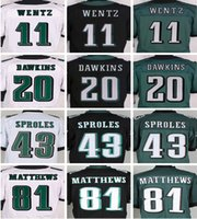 Wholesale Rugby jerseys Eagles elite football game jerseys CARSON WENTZ BRIAN DAWKINS rugby jerseys black green mix order