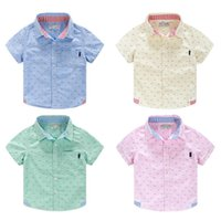 Wholesale New Arrival Baby Boys Brand Short Sleeve Shirts Boys Toddler Candy Colour Shirt New Hot Boy Cotton Tops Summer