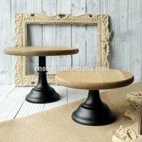 Wholesale metal base wood cake display tray environmental bake tool cake plate