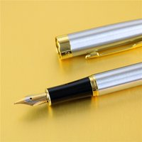 best executive gifts - Best Price High Quality Pure Stainless Medium Nib mm Study Business Fountain Pen Gifts Decor Executive Caneta