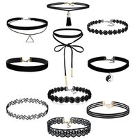 Wholesale 10 Pieces Choker Necklace Set Stretch Velvet Classic Gothic Tattoo Lace Choker