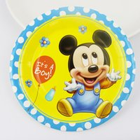 Wholesale quot New Baby Mickey Mouse Paper Plate Birthday Party Decoration Kids Event Party Supplies People Use