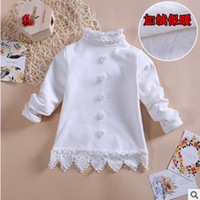 Wholesale Girls Shirt New Winter Fashion Cute Little Flower Thicker Bottoming Shirt White Color Size110 ly149