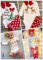 al por mayor bodies navidad-Bebé Recién Nacido Ropa Conjuntos Navidad Romper Headband Xmas Ins Trajes Elk Onesies Boot Cuffs Sin Hairband