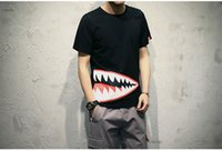 Wholesale 2017 the new Summer new shark mouth round collar short sleeve T shirt men s clothing of big yards
