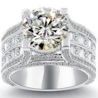 al por mayor anillo de diamante natural de oro blanco-6.18 K-VS2 Anillo de Compromiso Natural de Diamante Redondo Oro Blanco de 14k
