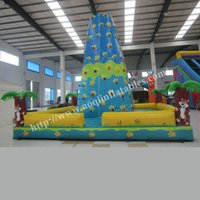 Wholesale AOQI climbing sport rock climbing wall inflatable toy outdoor inflatable advertising rock climbing tower for adult