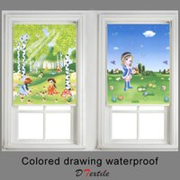 Wholesale blackout silver lovely style cartoon painting waterproof finished roller blind