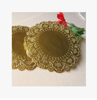 Wholesale New Hot Sale mm Gold Round Paper Lace Doilies Placemat Craft Wedding Christmas Tableware Decoration