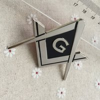 Wholesale Square and Compass G Entered Apprentice Masonic Freemason Car Logo Auto Emblem Masonry Nickle finished Metal Crafts Badges
