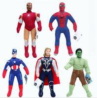 al por mayor superhéroes juguetes de peluche-40cm Super Hero Muñecas Suaves El Hulk Thor Hombre Araña Hombre De Hierro Capitán América Peluche Muñecas Juguetes Peluches Dibujos Animados Plush Juguetes Q0661