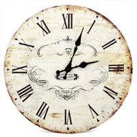 Wholesale SWT quot Chic Vintage Retro Crown Pattern Wooden Wall Clock Art Home Dcor