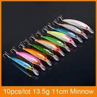 Hot 11cm 13.4g appât de pêche 10pcs / lot One lure Set laser classique 10 couleurs choix minow attirail de pêche attrait pour les sports de plein air