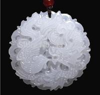 Wholesale Beautiful Genuine Handmade Natural White Jade Carved Dragon Phoenix Pendant Necklace Fashion Carving Pendants Jewelry