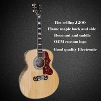 Wholesale Hot selling AAA solid spruce top inch j200 acoustic guitar flame maple back and side guitars