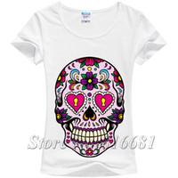 bell mexico - New hot mexico flower sweet skull print t shirt for women short sleeve milk silk Grunge Rock calavera tee women tops