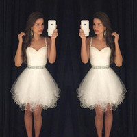 Wholesale 2017 Spaghetti Straps White Homecoming Dresses with Beading Waistline Tiered Tulle Dresses Sweet Gowns Cocktail Short Party Dresses