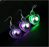 Wholesale 2017 New Stud Earrings Fashion HOT Pair LED Glowing Light Up Earrings Ear Studs Men Women Party Club Dance Gift B001