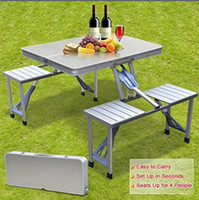 Wholesale Smartlife High Quality Outdoor Aluminum Split Folding Tables and Chairs Portable Barbecue Picnic Tables Chairs