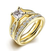 Wholesale 2 Set Zircon L Stainless Steel Double Rings For Women Gold Plated Crystal Female Engagement Wedding Bridal Finger Rings