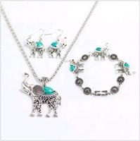 Cheap National Style Turquoise Elephant Necklace Set 3pcs Retro Green Jade Jewelry Set Earring Necklace and Bracelet