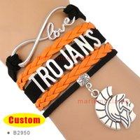 best trojan - Pieces High Quality NCAA Infinity Love Trojans Wrap Bracelet Black Orange Best Gift Custom Any Themes Drop Shipping