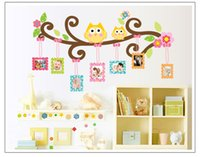 background frames for photos - Owl Photo Frame Plane Wall Sticker Removable Cartoon Pvc Kids Room Bedroom Background Decorative Art Decals Home Decorations