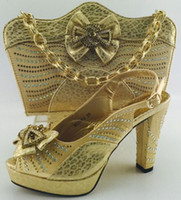 Wholesale New Design Italian Rhinestone Woman Shoe And Bag Set Fashion African High Heel Shoes With Mataching Bag For Party Gold ME6603