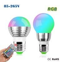 EU Plug RGB Stage Lighting Home Entertainment Wholesale-85-265V 220V 110V E27 RGB LED Stage light lamp Bulb Atmosphere Night light +IR Remote Controller For Party Disco DJ Bar Bulb