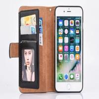 al por mayor cubierta de la cremallera iphone-Cremallera Caja de cuero de la ranura para tarjeta del tirón de la PU de la PU de la carpeta para el iphone 7 iphone 7 más 6 6S MÁS