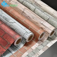 Wholesale 5Meters Bedroom Self Adhesive Wallpaper Modern Brick PVC Stone Wallpapers Roll for Walls Papel Pintado papel de parede tijolo
