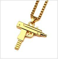 Wholesale Gold Chain Pistol Pendant Unisex Gold Plated Submachine Gun Pendant Chain Maxi Necklace For Men Women Hip Hop Jewelry Gifts