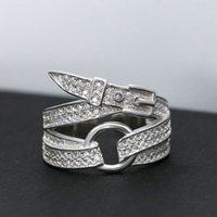 bands and noble - 925 sterling silver ring Simple personality Female ring The shape of the belt Noble and elegant European and American style The white color