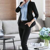 Cheap 4XL Plus Size Custom Women Slim Fit Pant Suits Formal Black Office Wear Lady One Button Work Business Career Long Pant Suit