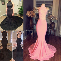 Wholesale New Arrival High Neck Mermaid Sleeveless Long Pink Lace Prom Dresses Sexy Evening Dresses Formal Party Gowns Weddings Guest Dress Plus Size