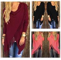 Wholesale Women Slim Tassel Slash Blouse Shirt Casual Lady Colors Blouse Long Sleeve Winter Cotton Clothing tops