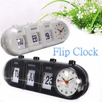 Wholesale ABS Black White Manual Flip Digital Quartz Home Desk Alarm Clock Day Date Calendar Time Display