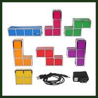Wholesale Tetris Puzzle Light Pieces Constructible Retro Game Style Three dimensional Stackable Puzzle LED Desk Table Decorative Lamp Squares Night