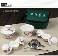 Wholesale 11 Travel Tea Sets Chinese Portable Ceramic Bone China Gaiwan Teacup Porcelain Tea Cup The Kung Fu Travel Teapot with bag
