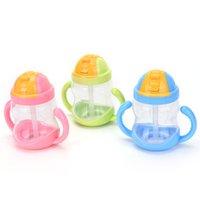 Grossiste-280ML nourrissons bébé nourrissant bouteille infirmière bouteille Alimentation Bouteille d'eau Kids Cup paille potable Sippy tasses avec poignée 3 couleurs 1PC