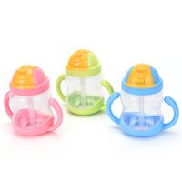 Wholesale ML Infant Baby Feeding Bottle Nursing Bottle Feeding Water Bottle Kids Straw Cup Drinking Sippy Cups With Handle Colors PC