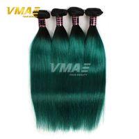 Brazilian Ombre Straight Hair weft Two Tone Couleur 1b verte Cheveux humains Cheveux tissés 8-30 pouces Extensions de cheveux humains