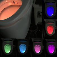 Wholesale mini Colors LED Motion Sensor Automatic Toilet Night Light Bowl Bathroom Energy saving Decor Lamp