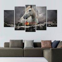 5 Панели White Horse Печать на холсте, настенной живописи современного искусства Большой холст картины для украшения дома искусства стены Печать холст