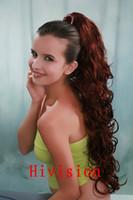 Moda de las mujeres de cobre de color rojo sintético rizado largo ondulado Claw clip cola de caballo Pony Tail cabello extensión de pelo