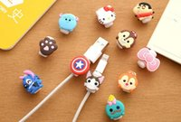 Wholesale 3D cartoon USB Data cable line head Protector Captain America headset earphone connector port protective For iphone HTC