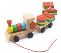 Wholesale Small Wooden Train Toys Dragging Three Carriage Geometric Shape Matching Early Childhood Educational Train Set MZW5