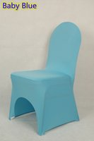 Wholesale Baby blue colour lycra universal chair cover for wedding decoration spandex chair cover on sale banquet chair arch front open